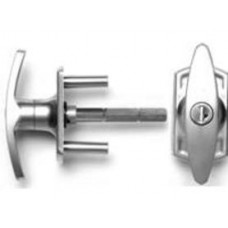 Henderson Locking T-Handle - Silver Finish - 76mm Spindle - Long Spigot